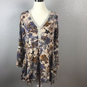 Umgee Bohemian Cowgirl Floral Bell Sleeve Dress